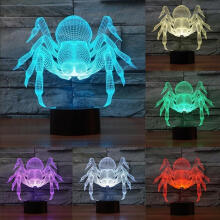 Farfi Multicolor Halloween Spider Acrylic Visual LED Night Light Table Lamp Black Base