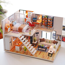 Jantens Assemble DIY Wooden House Toy Wooden Miniatura Doll Houses Miniature Dollhouse toys With Furniture LED Photo Color