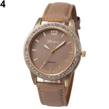 Farfi Women Rhinestone Faux Leather Analog Quartz Dress Wrist Watch Jewelry