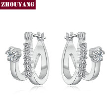 ZHOUYANG Top Quality Crystal Mosaic Stud Earring Rose Gold Color Jewelry Austrian Crystal