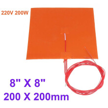 200 x 200 400 x 400mm Heated Bed Heater Pad Silicone Heating Mat For 3D Printer 220v 200W,200 X 200mm