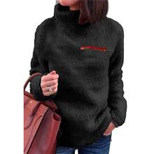 BESSKY Women Solid Zippers Turtleneck Blouse Fleece Sweatshirt Pullover Tops Shirt_