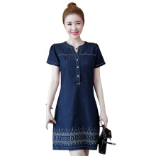 SiYing Korean version of the embroidered short-sleeved Slim A-line denim dress