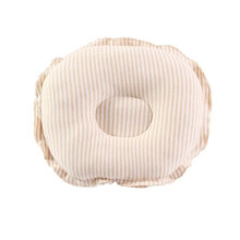 [COZIME] Natural Organic Cotton Newborn Infant Girls Boys Cushion Sleeping Pillow Light brown Q612 Stripe