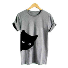 Printed Cat Pattern Round Collar Short Sleeved Fashion Summer Woman T-shirt Black S