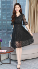 Ninataly Versi Korea Musim Panas Wanita Ritsleting Lengan Pendek Gaun Wanita Temperamen Padat V-neck Lace Slim Dress Black XL