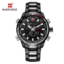 NAVIFORCE 9093 Top Brand Mens LED Analog Digital Watch Male Army Stainless  Men Military Sport Watches Quartz Clock Black