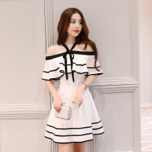 Ninataly Summer Japanese-Korean Style Bow Tie Bra Chiffon Dress Hit Color Sweet Strapless Waist Women Dress White S