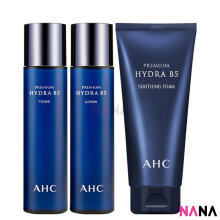 AHC Premium Hydra B5 Set: Toner 120ml + Lotion 120ml + Soothing Foam 180ml