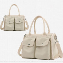 [COZIME] Canvas Women Single Shoulder Bags Solid Vintage Multi-pocket Ladies Totes Bags White1