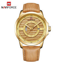 NAVIFORCE 9151 Men Watch 3ATM Waterproof Male Top Brand Luxury Leather Wristwatch Man Date Week Quartz Fashion Blue Clock Gold
