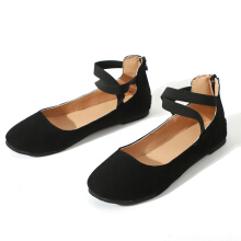 Suede Cross Band Ballerina Flats Black 40