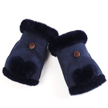 Ladies Suede Solid Color Comfortable Autumn And Winter Touch Screen Gloves gray