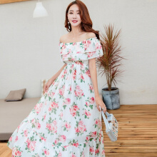 Allgood Fashion  Bohemian Warp Chest women dress Temperament Intellectual Boat Neck Bare Floral Beach Long Princess Party Chiffo