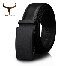 COWATHER Men's Belt Automatic Ratchet Buckle with Cow Genuine Leather Belts