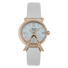 Alexandre Christie AC 2703 LH LRGMSSL Ladies Mother of Pearl Dial White Leather Strap [ACF-2703-LHLRGMSSL]