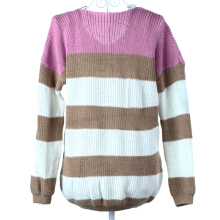 New Fashion Women Sweater V-Neck Striped Knitwear TOP Pullover Long Sleeve Light Purple Size Others