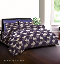 KING RABBIT Bedcover Single Motif Blue Whale Jeans- Biru/ 140 x 230cm Blue