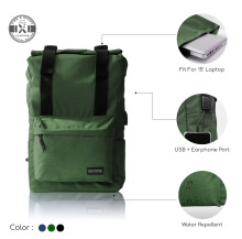 The X Woof - Water Repellent Roll top Backpack. Spack-FM 1.0 Green Green