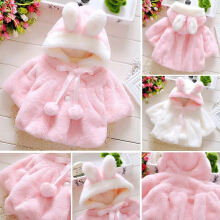 cute baby selimut bayi Newborn Baby Girls Fur Coat Cloak Jacket Snowsuit 0-12 bulan - pink