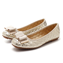 Bowknot Patent Leather Slip On Elegant Lady Flats  Grey 36