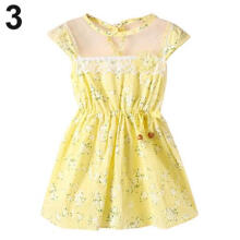 Farfi Baby Kids Girl Lace Floral Print Princess Bowknot Wedding Party Dress