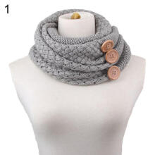 Farfi Winter Women's Button Warm Two Circle Cable Knit Neckerchief Long Scarf Shawl Grey