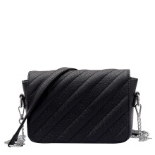 LEFTSIDE Vintage Chain Women PU Leather Crossbody Bags Black