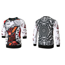 Space cotton long sleeved round neck printed sweater casual for men's wear 3XL