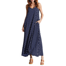 Jantens Summer ladies dress polka dot print V-neck loose skirt bohemian vintage dress