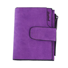 [LESHP]Vintage Design Zipper Hasp Wallet Women Leather Female Purse Lady Matte Clutch Purple