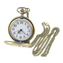 Quartz watches Men's Watch Vintage Quartz Pocket Watch with Unique Skull and Gun Pattern with Chain Emas