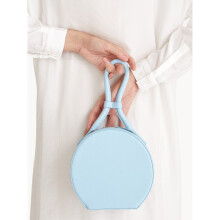 Premium Leather Circle Zipped Wristlet - Blue [One Size]