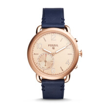 Fossil Q Tailor - Rose Round Dial 40mm - Leather - Blue -Smart Analogue - Jam Tangan Wanita - FTW1128
