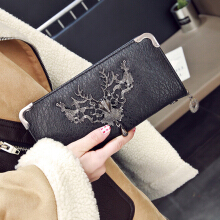 Jantens New long ladies long-horned deer iron side wallet Carteira Feminina wallet female Portefeuille ladies wallet Black