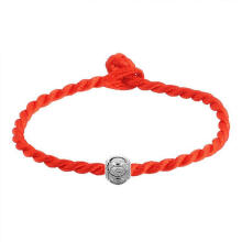 Farfi Ethnic Silver Plated Bead Braided Red Rope Bracelet Unisex Lucky Wrist Decor