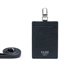 Faire Leather Co - Specter VT Cardholder with Lanyard (Black) | Leather Accessories Black