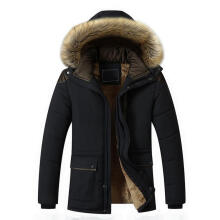 Farfi Winter Faux Fur Hoodie Long Sleeve Zipper Pocket Coat Men Warm Outwear