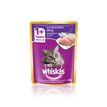 Whiskas Pouch Adult 1+ Mackerel 85 gr , jual 1 box isi 24 pouch