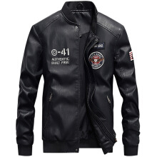 ESG Winter Men's Casual Bomber PU Leather Jacket Male Military Embroidery Baseball Jackets Motorcycle Pilot Luxury Fleece Coat Black M