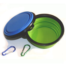Expandable Cup Dish for Pet Cat Food Water Feeding Portable Travel Bowl Free Carabiner