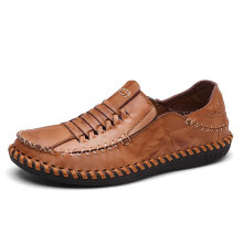 Zanzea Men Genuine Leather Hand Stitching Woven Style Oxfords Shoes