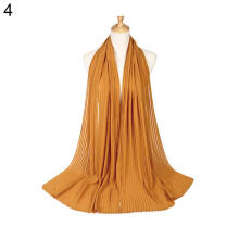 Farfi Plain Pleat Chiffon Wrinkle Long Shawl Hijab Crumple Pashmina Muslim Women Scarf