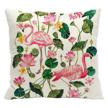 Farfi Pineapple Leaf Flamingo Pattern Linen Pillow Case
