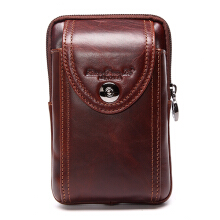 Laoshizi Men Genuine Leather Waist Bag Business Crossbody Bag Cell Phone Bag for 6 inch phones
