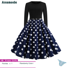 Anamode Women Elegant Bodycon Dresses Big Swing Dot Printed Party Gown Pinup Midi Robe -Blue -