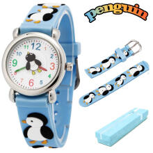 Keymao Penguin Waterproof 3D Cute Cartoon Silicone Wristwatches Gift for Little Girls Boy Kids Children Blue