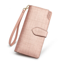 FOXER Women leather leather wallet purse high quality long wallet zipper girls clutch bag with handbag Pink