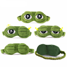 Jantens Funny Creative Pepe the Frog Sad Frog 3D Eye Mask Cover Cartoon Plush Sleeping Mask Cute Anime Gift Green