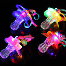 Farfi LED Flashing Light up Nipple-type Whistle Lanyard Party Concert Cheering Favor Random Color
